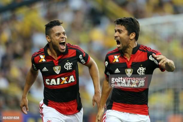 Eduardo of Flamengo celebrate his goal second of Flamengo with Everton during a match between Criciuma and Flamengo as part of Campeonato Brasileiro...