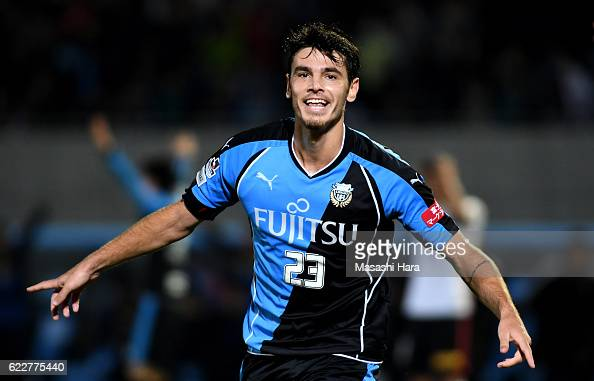 Eduardo of Kawasaki Frontale celebrates the third goal during the 96th Emperor's Cup fourth round match between Kawasaki Frontale and Urawa Red...