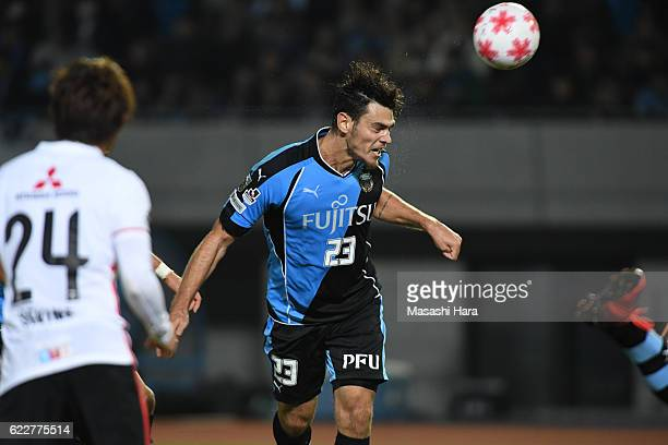 Eduardo of Kawasaki Frontale scores the third goal during the 96th Emperor's Cup fourth round match between Kawasaki Frontale and Urawa Red Diamonds...