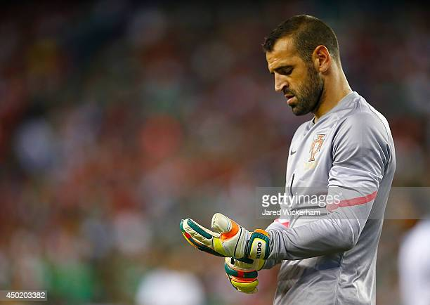Eduardo of Portugal reacts following a save against Mexico in the second half during the international friendly match at Gillette Stadium on June 6...