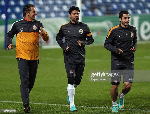 Eduardo of Shakhtar Donetsk attends a Shakhtar Donetsk Training Session and Press Conference ahead of tomorrow's UEFA Champion's League match between...
