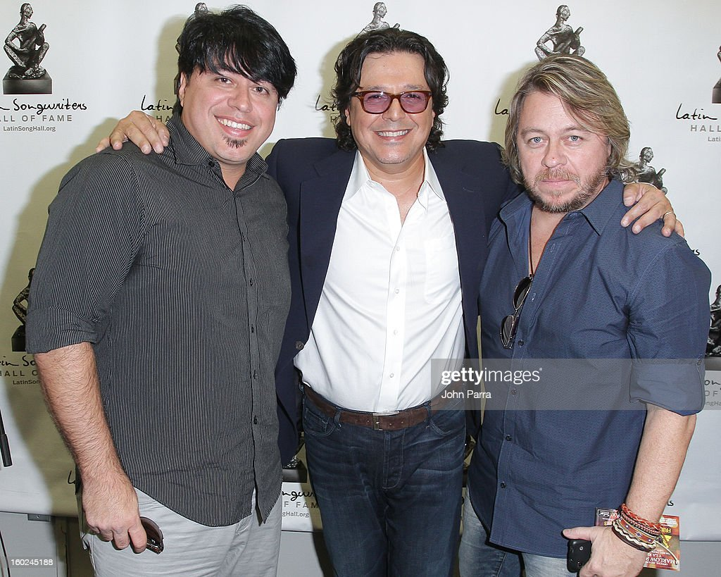 Eduardo Osorio, Rudy Perez and Fernando Osorio attend Latin Songwriters Hall Of Fame announcement on January 28, 2013 in Miami, Florida.