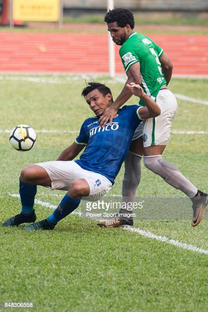 Eduardo Praes of Wofoo Tai Po in action against Clayton Michel Afonso of Rangers during the week three Premier League match between BC Rangers and...