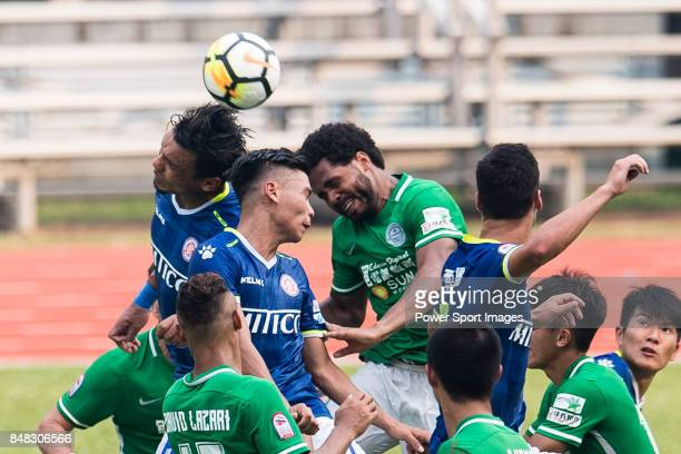 Eduardo Praes of Wofoo Tai Po in action against Yiu Kwok of Rangers during the week three Premier League match between BC Rangers and Wofoo Tai Po at...