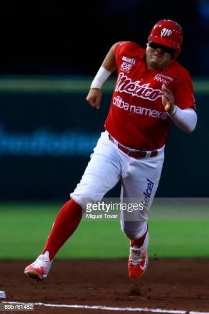 Eduardo Revilla of Diablos runs the third base during the match between Sultanes de Monterrey and Diablos Rojos as part of the Liga Mexicana de...