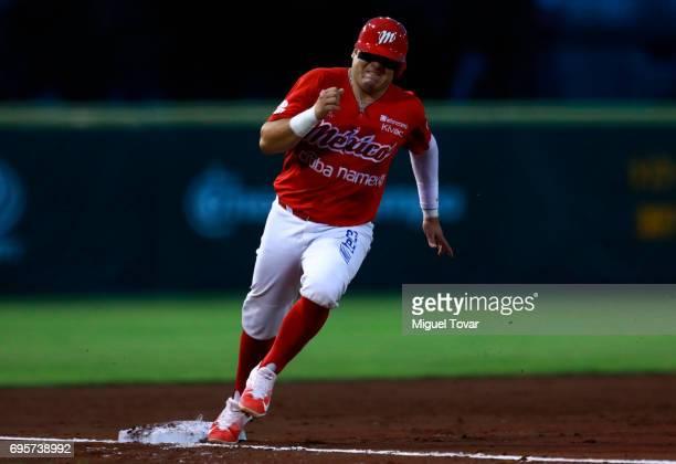 Eduardo Revilla of Diablos runs to third base during the match between Sultanes de Monterrey and Diablos Rojos as part of the Liga Mexicana de...