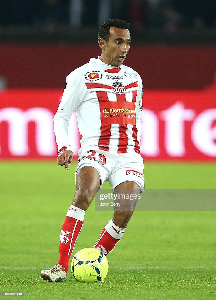 Eduardo Ribeiro dos Santos of AC Ajaccio in action during the French Ligue 1 match between Paris Saint Germain FC and AC Ajaccio at the Parc des Princes stadium on January 11, 2013 in Paris, France.