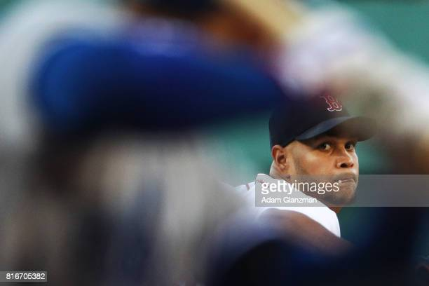 Eduardo Rodriguez 52 of the Boston Red Sox delivers in the first inning of a game against the Toronto Blue Jays at Fenway Park on July 17 2017 in...