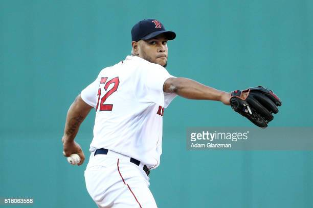 Eduardo Rodriguez 52 of the Boston Red Sox pitches in the first inning of a game against the Toronot Blue Jays at Fenway Park on July 17 2017 in...