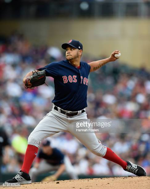 Eduardo Rodriguez of the Boston Red Sox delivers a pitch against the Minnesota Twins during the first inning of the game on May 5 2017 at Target...