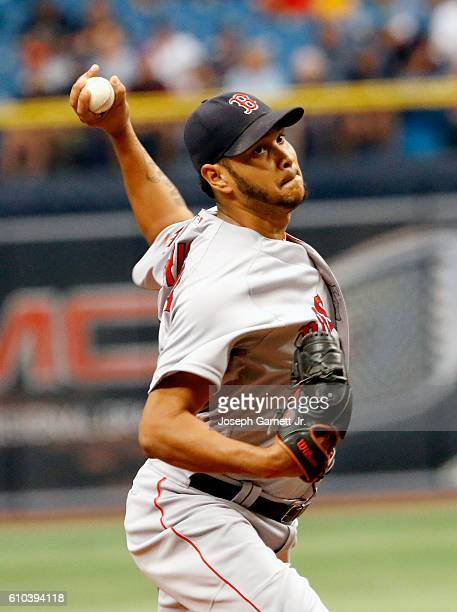 Eduardo Rodriguez of the Boston Red Sox delivers a pitch during the first inning of their game with the Tampa Bay Rays at Tropicana Field on...