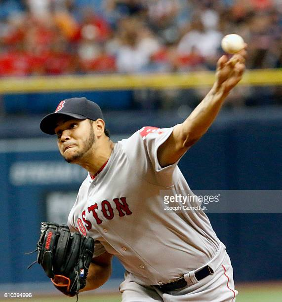 Eduardo Rodriguez of the Boston Red Sox delivers a pitch in the second inning of their game with the Tampa Bay Rays at Tropicana Field on September...