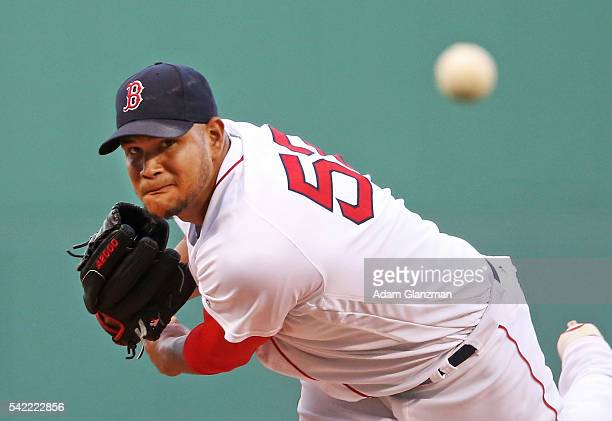 Eduardo Rodriguez of the Boston Red Sox delivers in the first inning during the game against the Chicago White Sox at Fenway Park on June 22 2016 in...