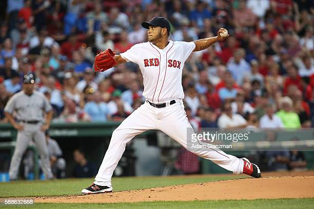 Eduardo Rodriguez of the Boston Red Sox delivers in the second inning of the game against the New York Yankees at Fenway Park on August 11 2016 in...