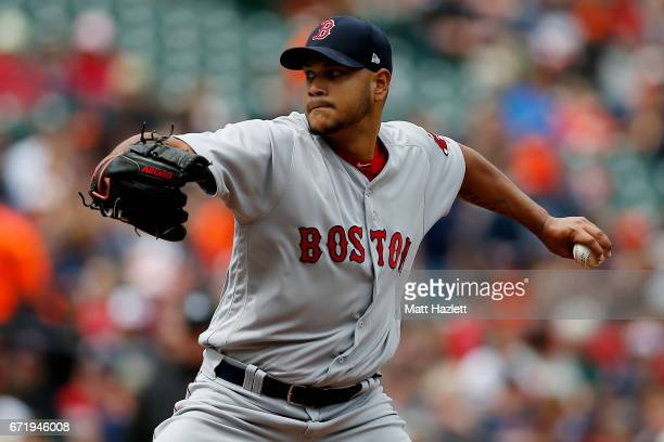 Eduardo Rodriguez of the Boston Red Sox pitches against the Baltimore Orioles in the first inning at Oriole Park at Camden Yards on April 23 2017 in...