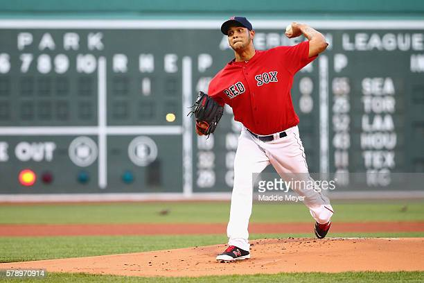 Eduardo Rodriguez of the Boston Red Sox pitches against the Minnesota Twins during the first inning at Fenway Park on July 22 2016 in Boston...