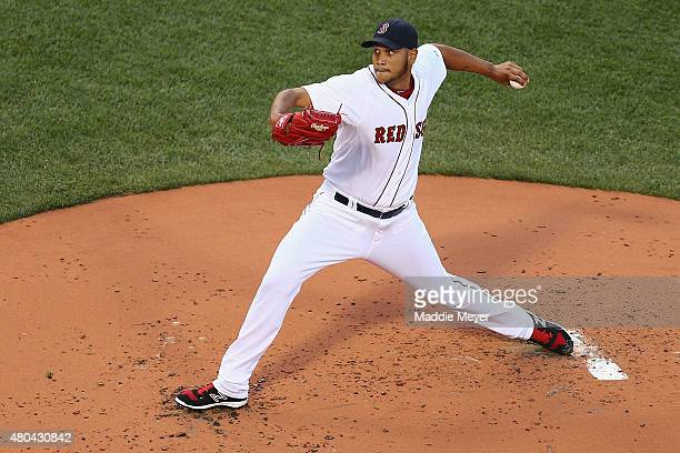 Eduardo Rodriguez of the Boston Red Sox pitches against the New York Yankees during the second inning at Fenway Park on July 11 2015 in Boston...