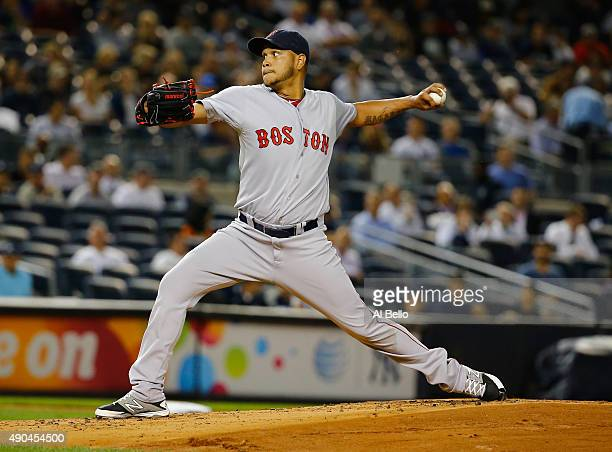 Eduardo Rodriguez of the Boston Red Sox pitches against the New York Yankees during their game at Yankee Stadium on September 28 2015 in New York City