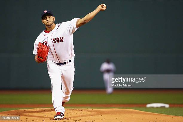Eduardo Rodriguez of the Boston Red Sox pitches against the New York Yankees during the first inning at Fenway Park on September 15 2016 in Boston...