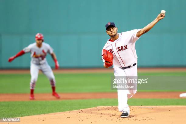 Eduardo Rodriguez of the Boston Red Sox pitches against the St Louis Cardinals during the first inning at Fenway Park on August 16 2017 in Boston...
