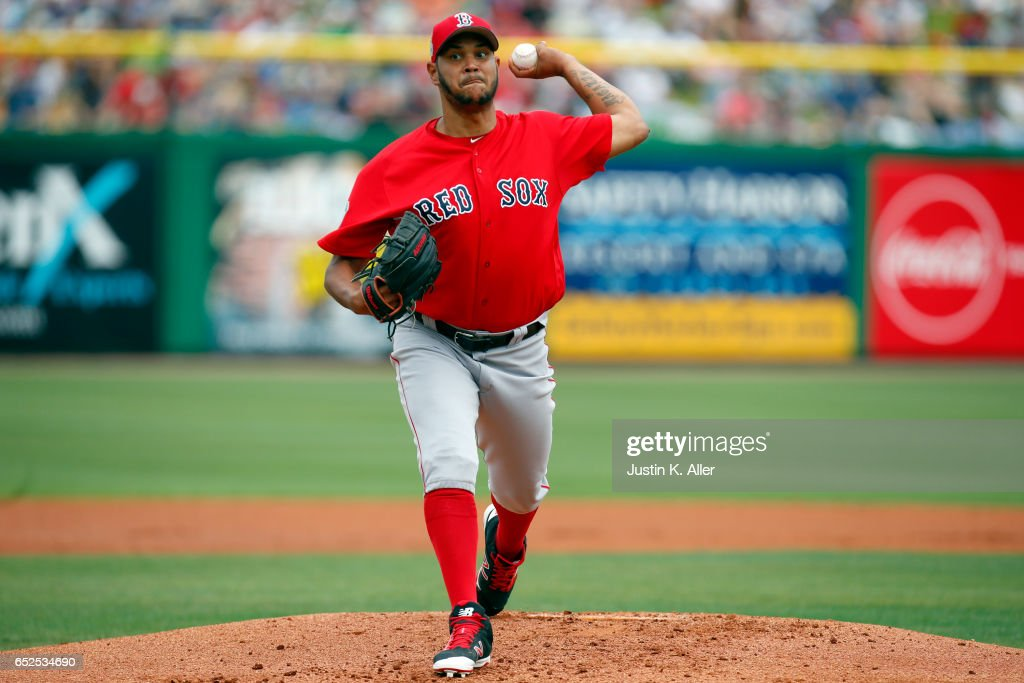 Eduardo Rodriguez #52 of the Boston Red Sox pitches during a spring training game at Spectrum Field on March 12, 2017 in Clearwater, Florida.