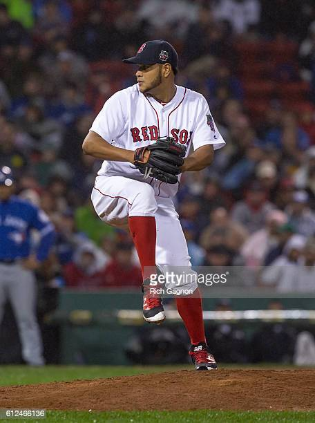Eduardo Rodriguez of the Boston Red Sox pitches during the fifth inning against the Toronto Blue Jays at Fenway Park on October 1 2016 in Boston...