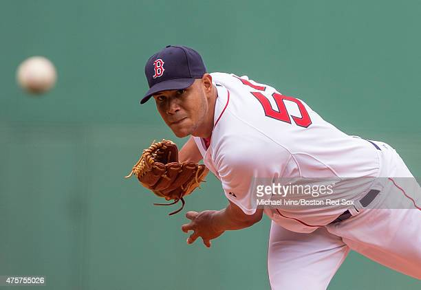 Eduardo Rodriguez of the Boston Red Sox pitches during the first inning of the first game of a double header against the Minnesota Twins at Fenway...