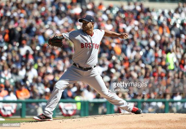 Eduardo Rodriguez of the Boston Red Sox pitches during the first inning of the game against the Detroit Tigers on April 8 2017 at Comerica Park in...