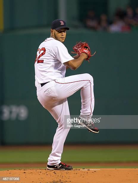 Eduardo Rodriguez of the Boston Red Sox pitches during the first inning against the Detroit Tigers at Fenway Park on July 26 2015 in Boston...