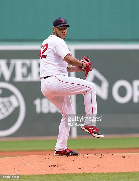 Eduardo Rodriguez of the Boston Red Sox pitches during the first inning against the Kansas City Royals at Fenway Park on August 23 2015 in Boston...