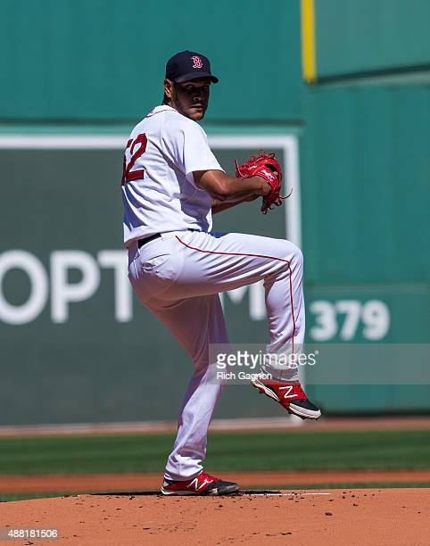 Eduardo Rodriguez of the Boston Red Sox pitches during the first inning against the Philadelphia Phillies at Fenway Park on September 6 2015 in...