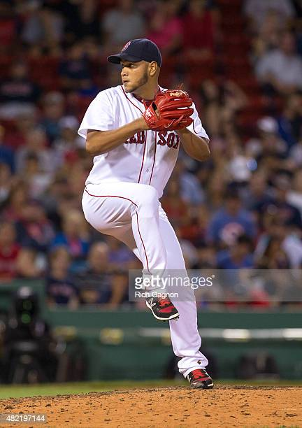 Eduardo Rodriguez of the Boston Red Sox pitches during the seventh inning against the Detroit Tigers at Fenway Park on July 26 2015 in Boston...