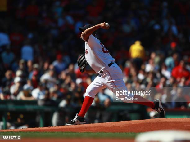 Eduardo Rodriguez of the Boston Red Sox pitches in the first innings during the game against the Pittsburgh Pirates on April 13 2017 at Fenway Park...