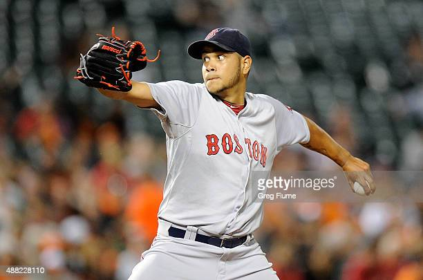 Eduardo Rodriguez of the Boston Red Sox pitches in the second inning against the Baltimore Orioles at Oriole Park at Camden Yards on September 14...