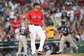 Eduardo Rodriguez of the Boston Red Sox reacts after allowing a home run to Brian Dozier of the Minnesota Twins in the second inning on July 22 2016...