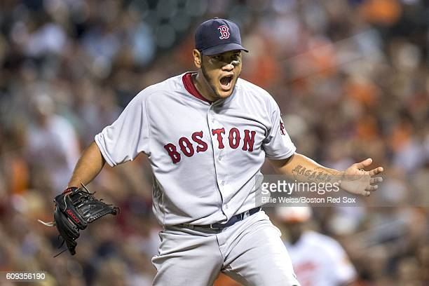 Eduardo Rodriguez of the Boston Red Sox reacts during the seventh inning of a game against the Baltimore Orioles on September 20 2016 at Oriole Park...