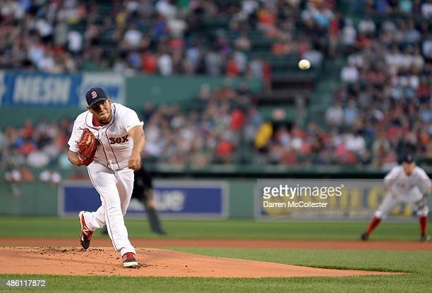 Eduardo Rodriguez of the Boston Red Sox throws a pitch in the first inning against the New York Yankees at Fenway Park on August 31 2015 in Boston...