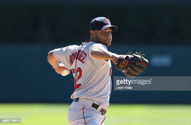 Eduardo Rodriguez of the Boston Red Sox warms up prior to the start of the game against the Detroit Tigers on April 8 2017 at Comerica Park in...