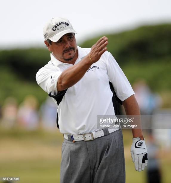 Eduardo Romero checks out his line during the British Seniors Open Royal Troon Golf Club Ayrshire