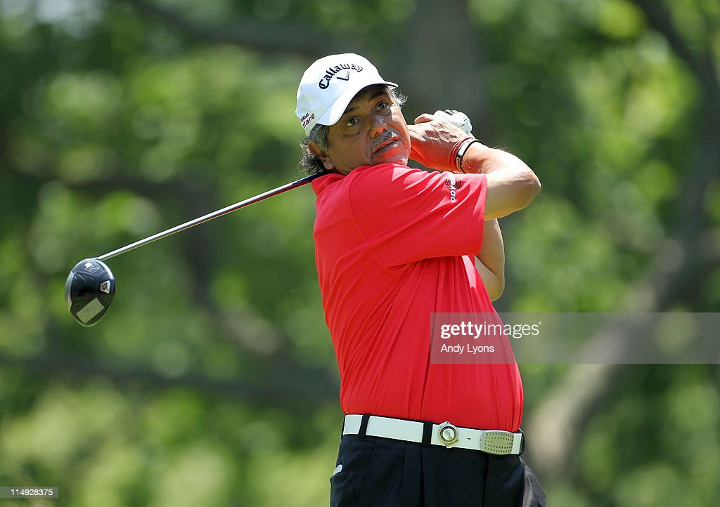 Eduardo Romero of Argentina hits his tee shot on the par 5 2nd hole during the Senior PGA Championship presented by KitchenAid at Valhalla Golf Club on May 29, 2011 in Louisville, Kentucky.