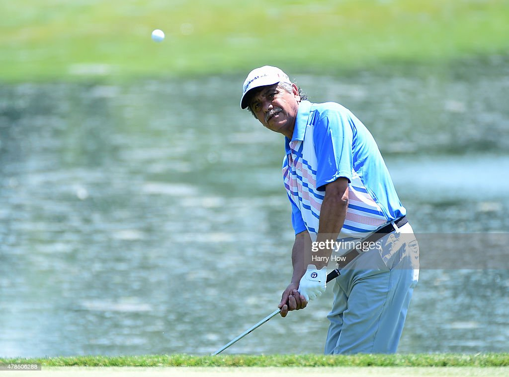 <a gi-track='captionPersonalityLinkClicked' href=/galleries/search?phrase=Eduardo+Romero&family=editorial&specificpeople=207196 ng-click='$event.stopPropagation()'>Eduardo Romero</a> of Argentina hits of the rough on the 16th green during round one of the U.S. Senior Open Championship at the Del Paso Country Club on June 25, 2015 in Sacramento, California.