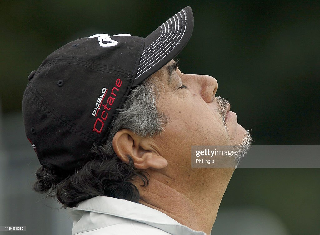 <a gi-track='captionPersonalityLinkClicked' href=/galleries/search?phrase=Eduardo+Romero&family=editorial&specificpeople=207196 ng-click='$event.stopPropagation()'>Eduardo Romero</a> of Argentina reacts during the first round of the Senior Open Championship played at Walton Heath Golf Club on July 21, 2011 in Tadworth, England.