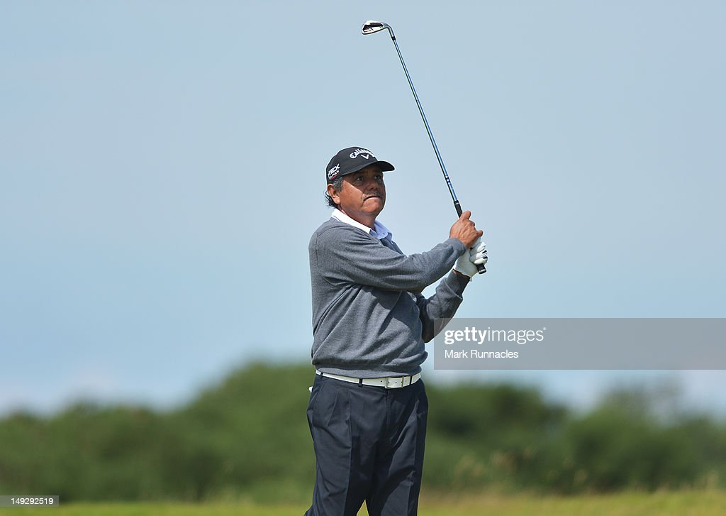 <a gi-track='captionPersonalityLinkClicked' href=/galleries/search?phrase=Eduardo+Romero&family=editorial&specificpeople=207196 ng-click='$event.stopPropagation()'>Eduardo Romero</a> of Argentina swings on the 18th hole during the first days play from the Senior Open Championship from Turnberruy Golf course on July 26, 2012 in Turnberry, Scotland.