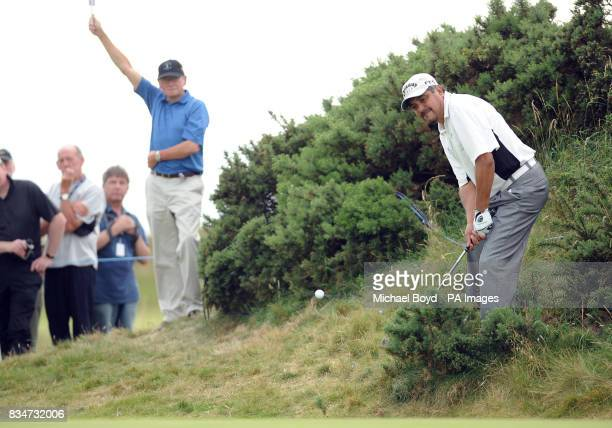 Eduardo Romero plays on to the green during the Britsih Seniors Open Royal Troon Golf Club Ayrshire