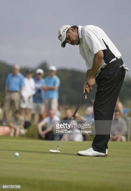 Eduardo Romero putts during the British Seniors Open at Royal Troon Golf Club in Ayrshire