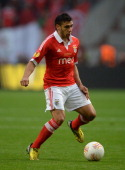 Eduardo Salvio of Benfica in action during the UEFA Europa League Final between SL Benfica and Chelsea FC at Amsterdam Arena on May 15 2013 in...