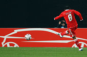 Eduardo Salvio of Benfica scores his team's first goal during the UEFA Europa League match round of 32 second leg between VfB Stuttgart and Benfica...