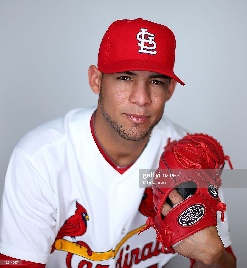 Eduardo Sanchez #52 of the St. Louis Cardinals poses during photo day at Roger Dean Stadium on February 19, 2013 in Jupiter, Florida.