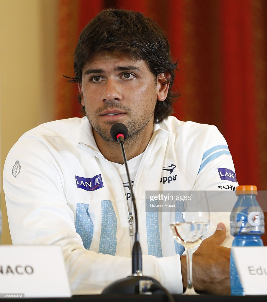 <a gi-track='captionPersonalityLinkClicked' href=/galleries/search?phrase=Eduardo+Schwank&family=editorial&specificpeople=4436721 ng-click='$event.stopPropagation()'>Eduardo Schwank</a> of Argentina talks during a press conference as part of the Copa Davis Draw between Argentina and Italy at NH Hotel on January 30, 2014 in Buenos Aires, Argentina.