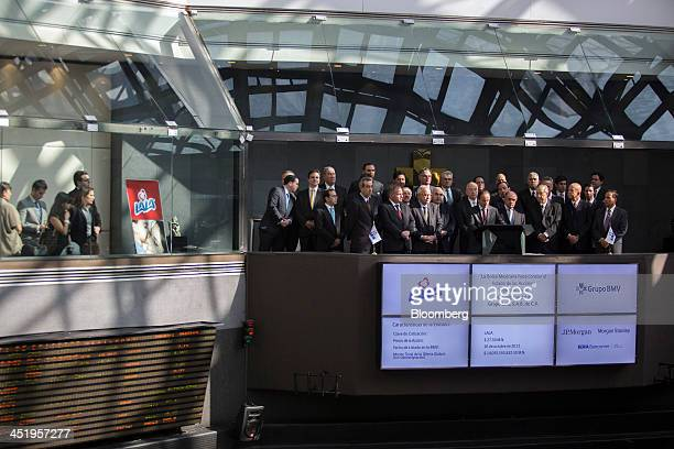 Eduardo Tricio chairman of Grupo Lala SAB center speaks during the opening bell ceremony marking the company's initial public offering at the Bolsa...